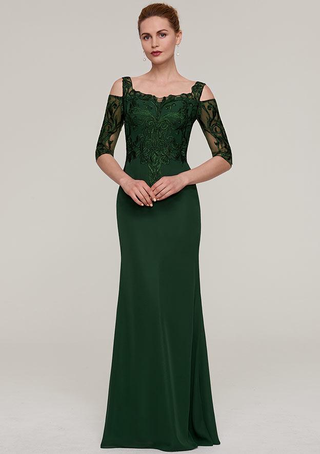 Sheath/Column Square Neckline Half Sleeve Long/Floor-Length Chiffon Evening Dress With Appliqued