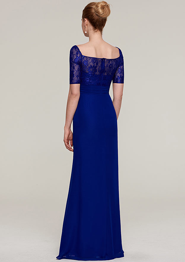 Sheath/Column Square Neckline Short Sleeve Long/Floor-Length Chiffon Evening Dress With Pleated Appliqued Beading