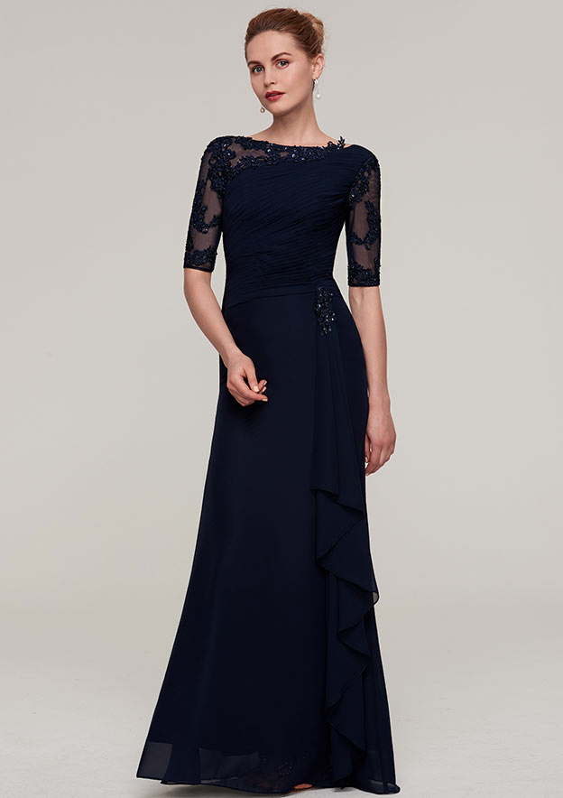 Sheath/Column Bateau Half Sleeve Long/Floor-Length Chiffon Evening Dress With Ruffles Pleated Appliqued Beading