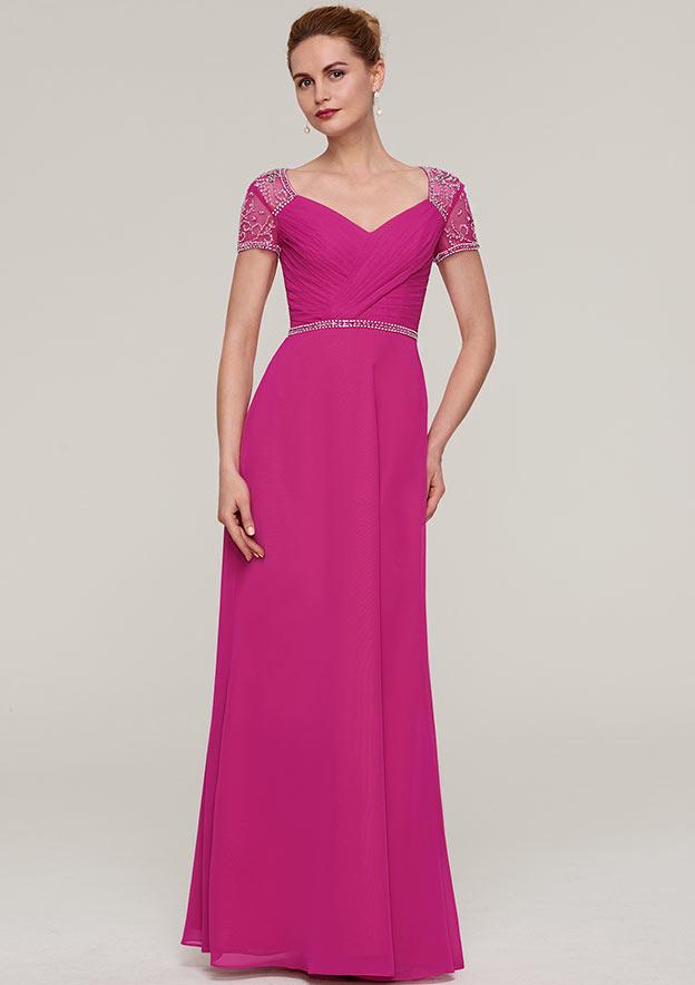Sheath/Column V Neck Short Sleeve Long/Floor-Length Chiffon Evening Dress With Waistband Beading