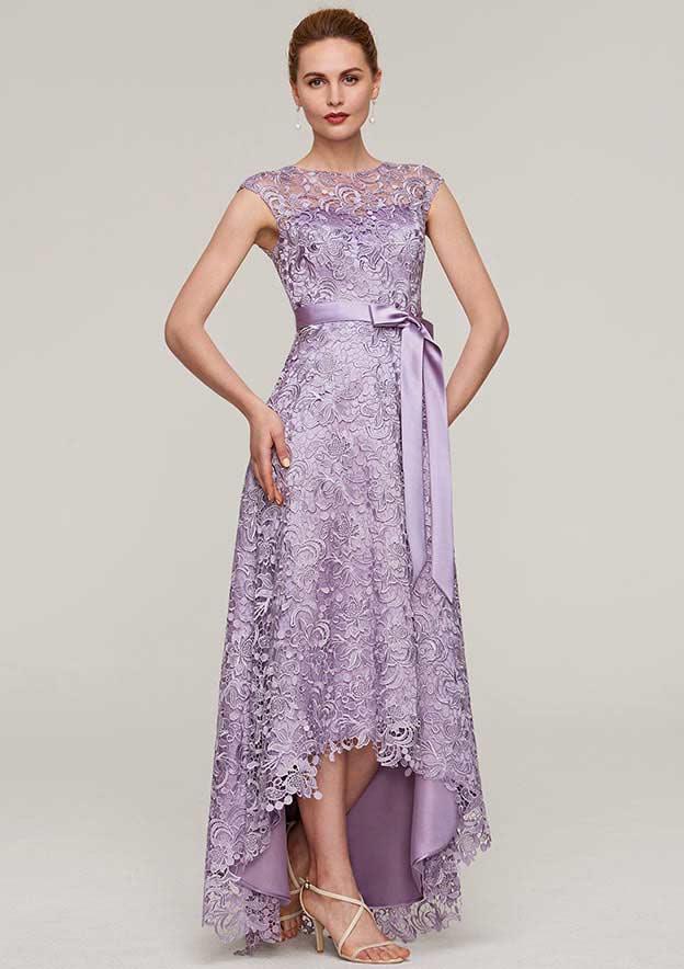 A-Line/Princess Bateau Sleeveless Asymmetrical Lace Evening Dress With Sashes