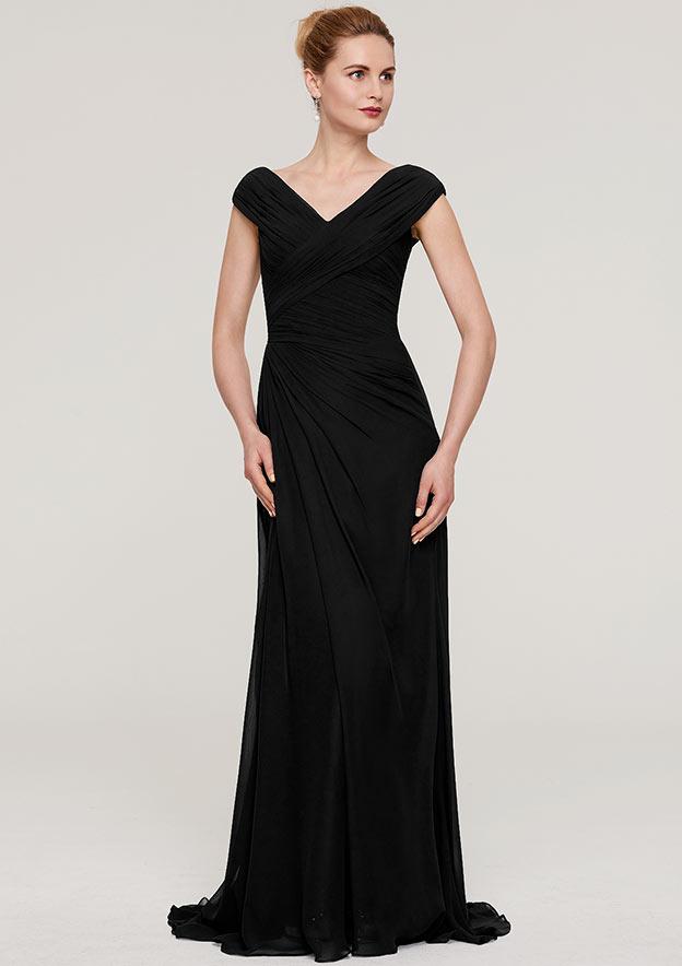 Sheath/Column V Neck Sleeveless Sweep Train Chiffon Evening Dress With Pleated