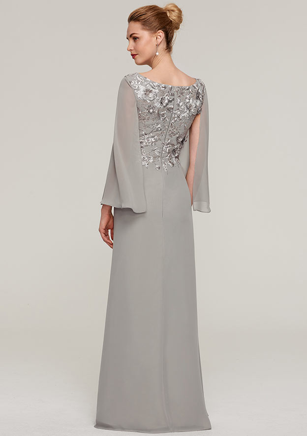 A-Line/Princess Bateau Full/Long Sleeve Long/Floor-Length Chiffon Evening Dress With Split Appliqued