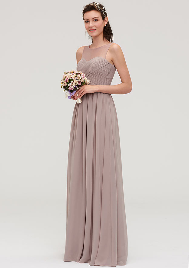 A-Line/Princess Bateau Sleeveless Long/Floor-Length Chiffon Bridesmaid Dresses With Pleated