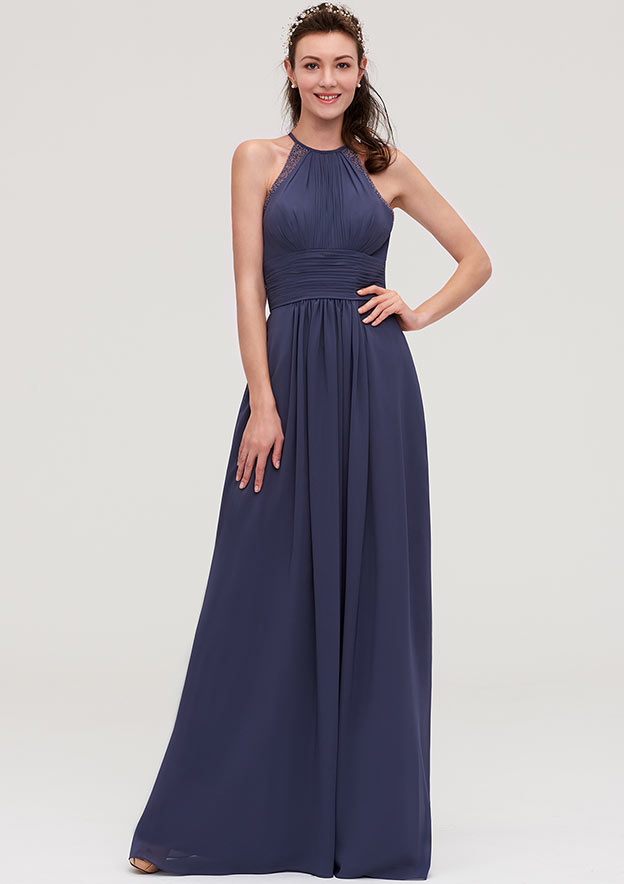 A-Line/Princess Scoop Neck Sleeveless Long/Floor-Length Chiffon Bridesmaid Dresses With Pleated Appliqued