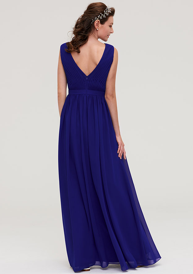 A-Line/Princess V Neck Sleeveless Long/Floor-Length Chiffon Bridesmaid Dresses With Pleated