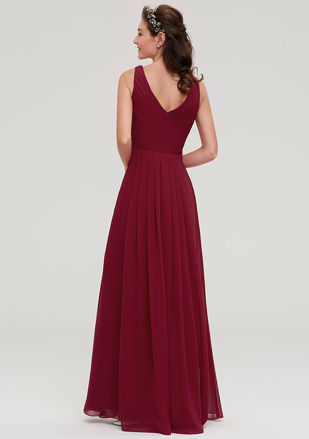 A-Line/Princess V Neck Sleeveless Long/Floor-Length Chiffon Bridesmaid Dresses With Waistband Beading Pleated