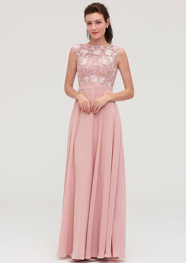 A-Line/Princess Bateau Sleeveless Long/Floor-Length Chiffon Bridesmaid Dresses With Sashes Appliqued
