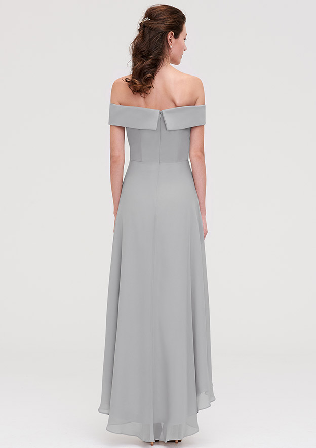 A-Line/Princess Off-The-Shoulder Sleeveless Asymmetrical Chiffon Bridesmaid Dresses