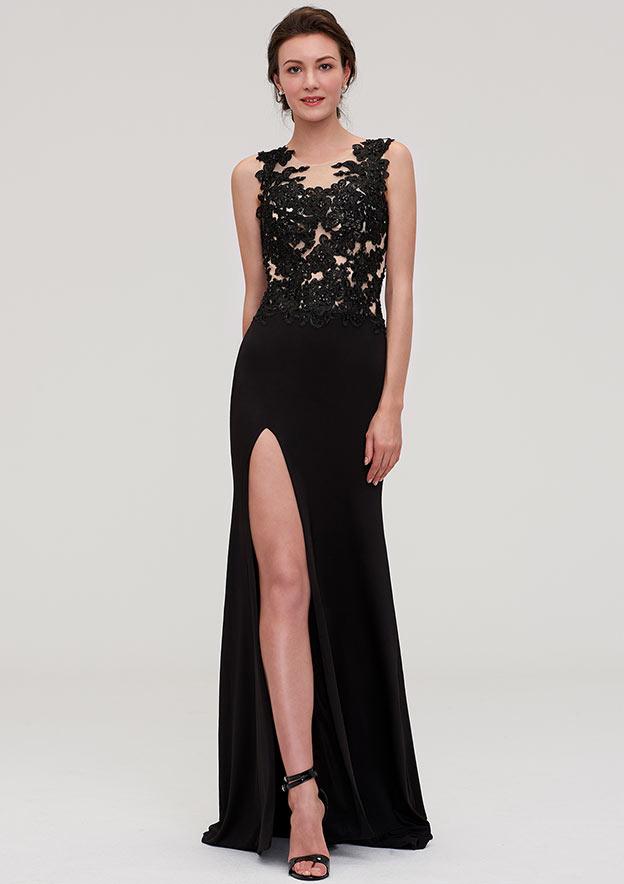 Sheath/Column Scoop Neck Sleeveless Long/Floor-Length Jersey Prom Dress With Split Appliqued Beading