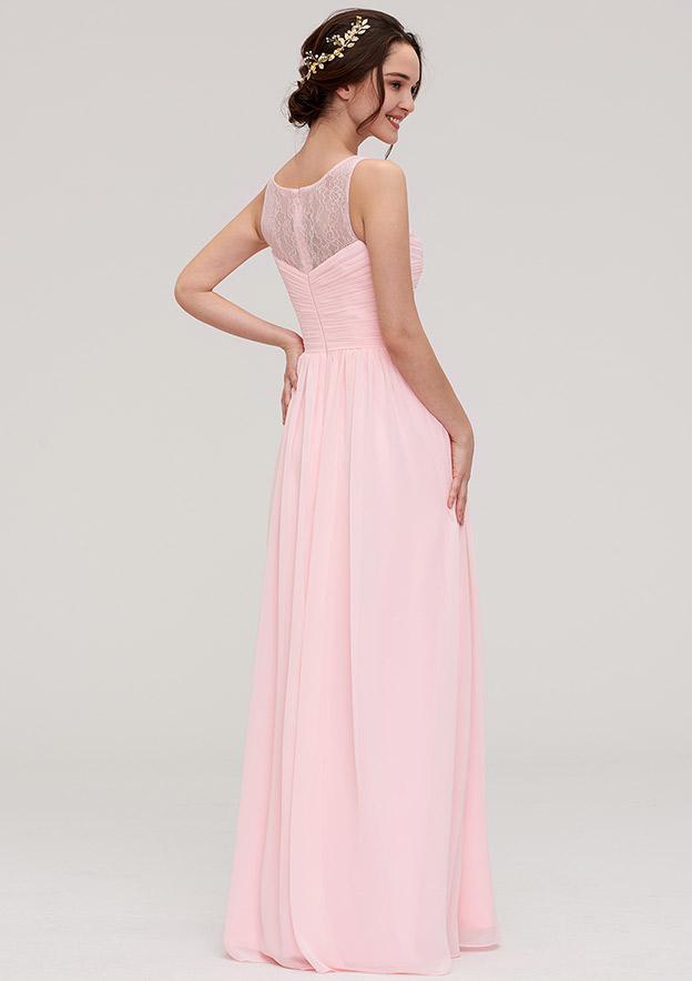 A-Line/Princess Bateau Sleeveless Long/Floor-Length Chiffon Bridesmaid Dress With Pleated Lace