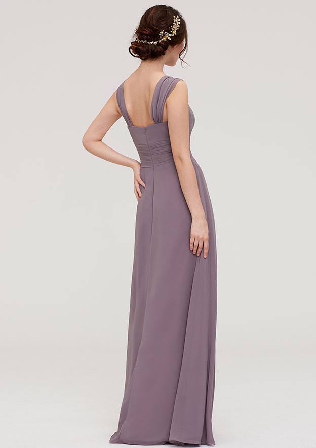 A-Line/Princess Square Neckline Sleeveless Long/Floor-Length Chiffon Bridesmaid Dresses With Pleated