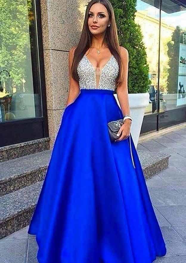 A-Line/Princess V Neck Sleeveless Long/Floor-Length Satin Prom Dress With Sequins