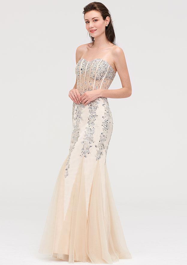 Sheath/Column Sweetheart Sleeveless Long/Floor-Length Tulle Evening Dress With Ruffles Beading