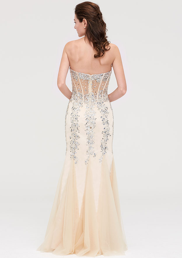 Sheath/Column Sweetheart Sleeveless Long/Floor-Length Tulle Evening Dress With Ruffles Beading
