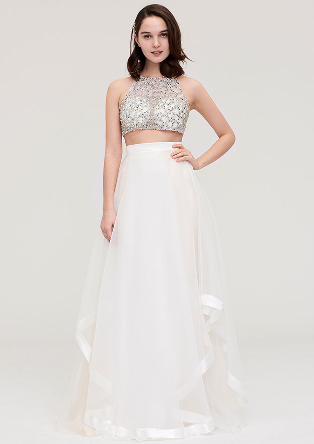 A-Line/Princess Halter Sleeveless Long/Floor-Length Tulle Prom Dress With Ruffles Crystal