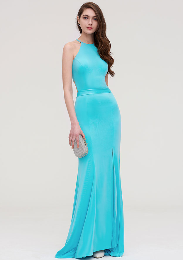 Sheath/Column Scoop Neck Sleeveless Long/Floor-Length Jersey Evening Dress With Split