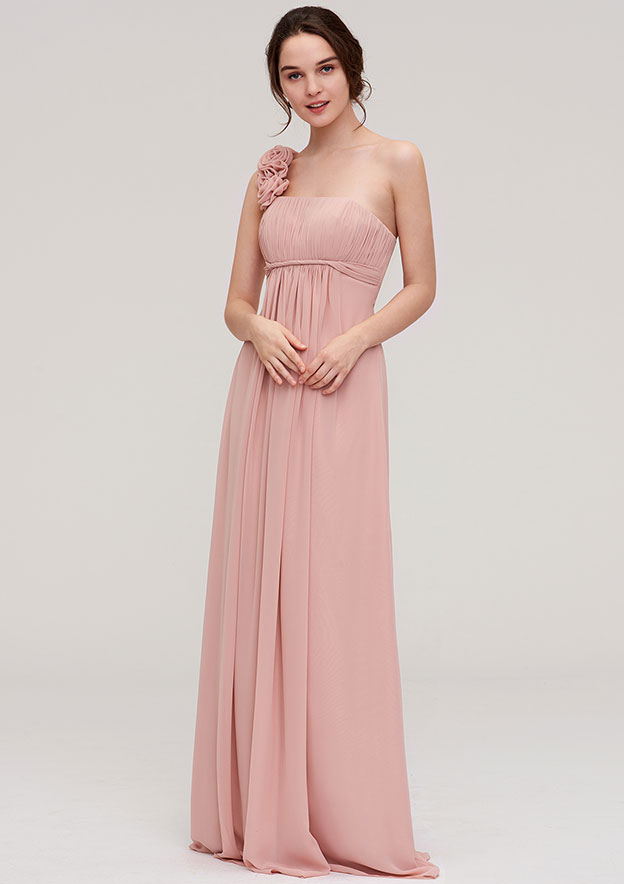 A-Line/Princess One-Shoulder Sleeveless Long/Floor-Length Chiffon Bridesmaid Dress With Pleated Flowers
