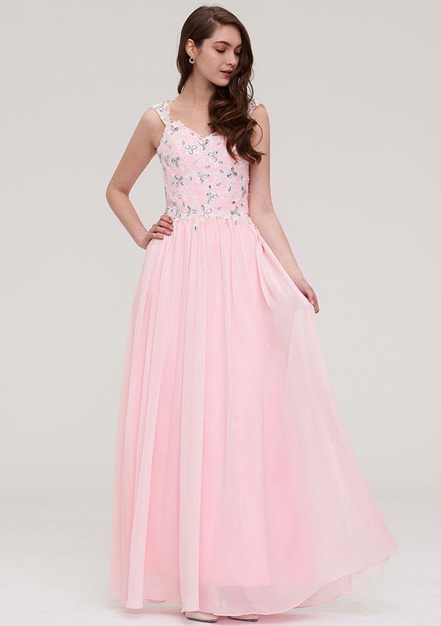 A-Line/Princess Sweetheart Sleeveless Long/Floor-Length Chiffon Prom Dress With Beading Appliqued