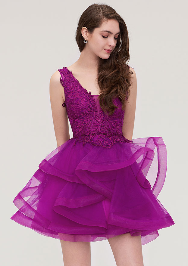 A-Line/Princess V Neck Sleeveless Short/Mini Organza Homecoming Dress With Appliqued