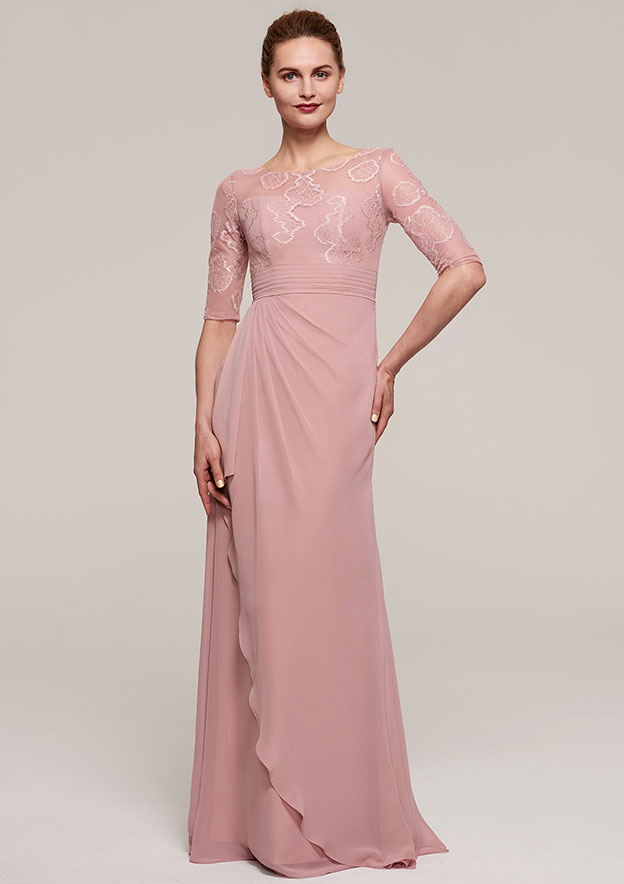 Sheath/Column Bateau Half Sleeve Long/Floor-Length Chiffon Mother Of The Bride Dress With Ruffles Appliqued Pleated