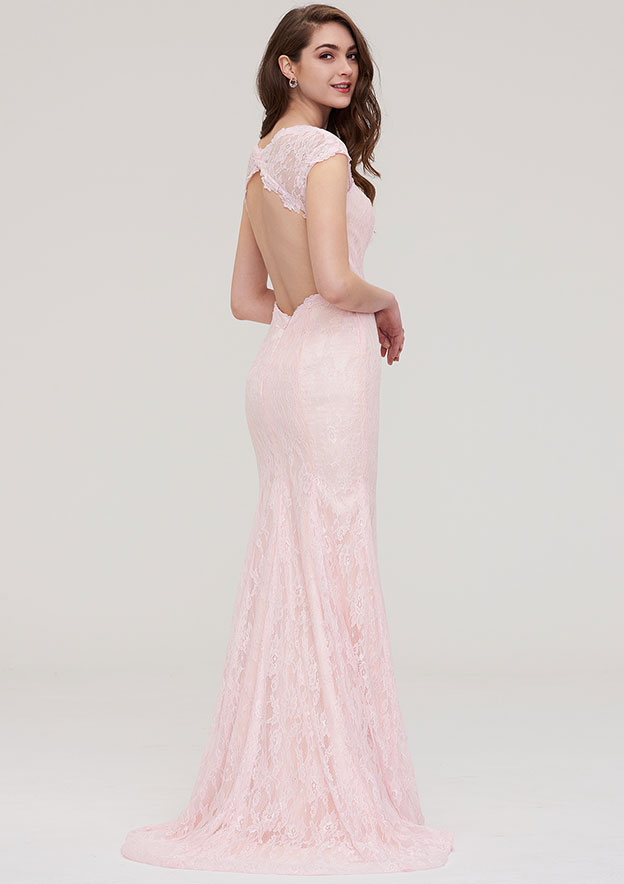 Sheath/Column Sweetheart Sleeveless Sweep Train Lace Prom Dress