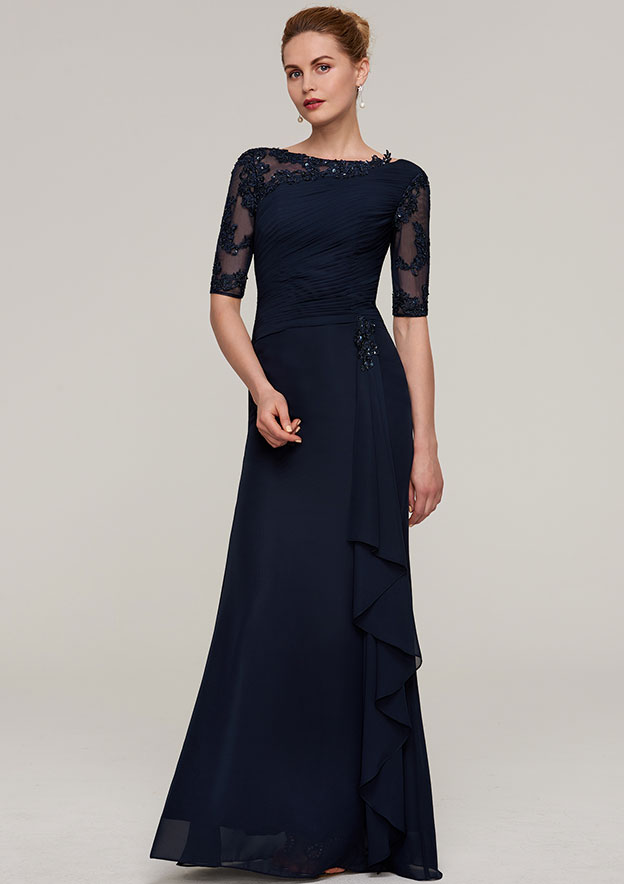 Sheath/Column Bateau Half Sleeve Long/Floor-Length Chiffon Mother Of The Bride Dress With Ruffles Pleated Appliqued Beading