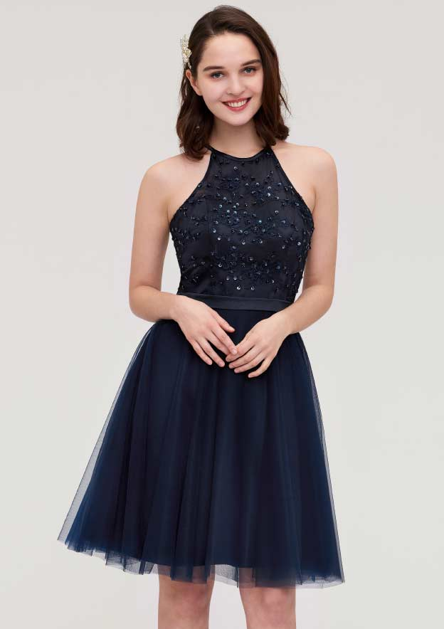 A-Line/Princess Halter Sleeveless Knee-Length Tulle Bridesmaid Dress With Sequins Appliqued Sashes