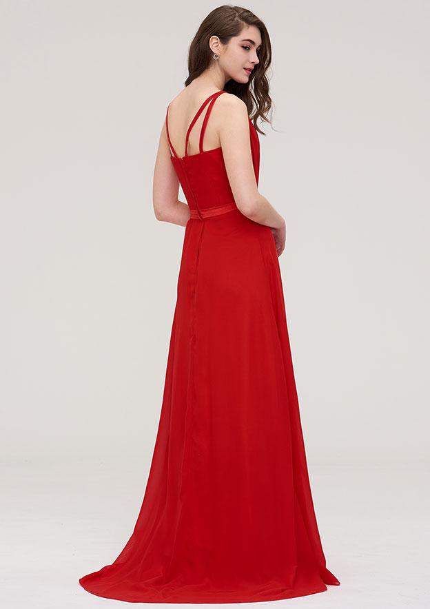 A-Line/Princess V Neck Sleeveless Long/Floor-Length Chiffon Dress With Sashes Pleated