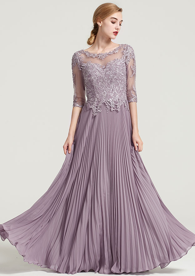 A-Line/Princess Bateau Half Sleeve Long/Floor-Length Chiffon Dress With Pleated Appliqued
