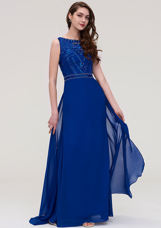 A-Line/Princess Bateau Sleeveless Long/Floor-Length Chiffon Prom Dress With Side Draping Beading Crystal Sequins
