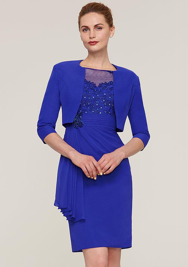 Sheath/Column Bateau Half Sleeve Knee-Length Chiffon Mother Of The Bride Dress With Jacket Appliqued Beading Pleated