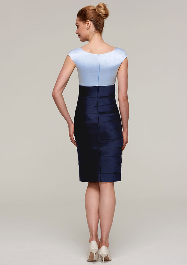 Sheath/Column Bateau Sleeveless Knee-Length Satin Mother Of The Bride Dress With Jacket Pleated Appliqued