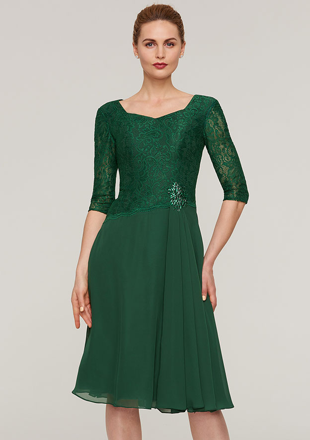 A-Line/Princess Scalloped Neck Half Sleeve Knee-Length Chiffon Mother Of The Bride Dress With Beading Lace