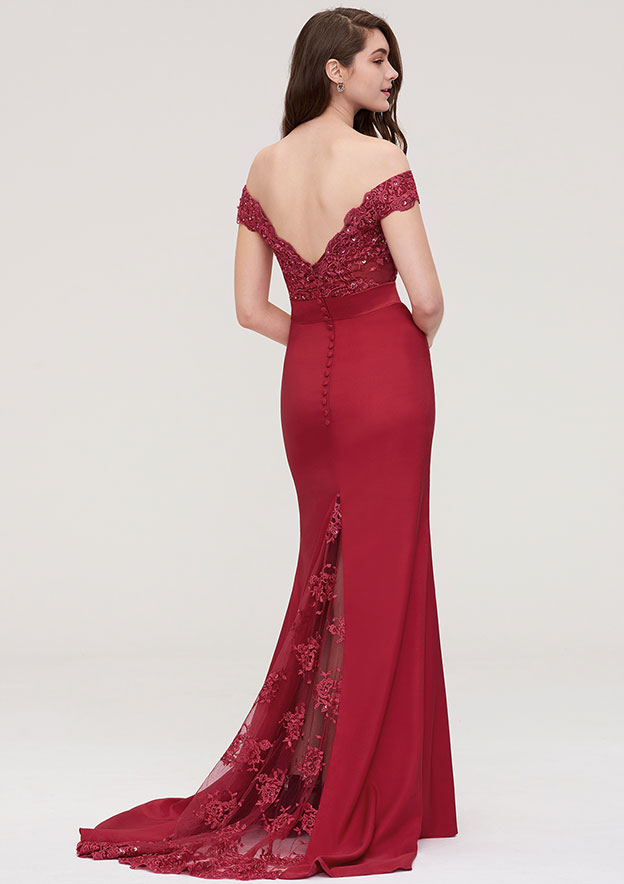 Trumpet/Mermaid Off-the-Shoulder Sleeveless Sweep Train Elastic Satin Prom Dress With Bandage Beading Appliqued