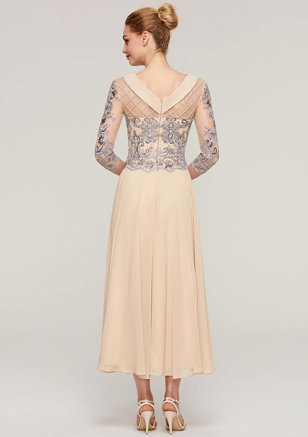 A-line/Princess Bateau 3/4 Sleeve Tea-Length Chiffon Mother of the Bride Dress With Sequins Beading Lace
