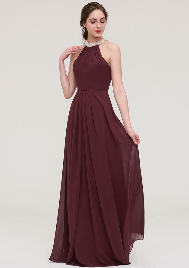 A-line/Princess Halter Sleeveless Long/Floor-Length Chiffon Bridesmaid Dress With Beading Pleated