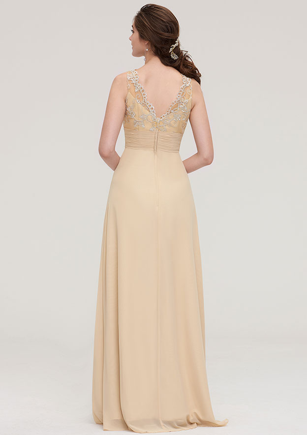 Sheath/Column Halter Sleeveless Long/Floor-Length Chiffon Bridesmaid Dress With Pleated Lace