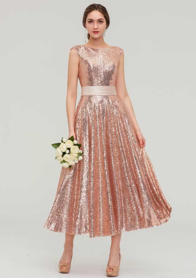 A-line/Princess Bateau Sleeveless Tea-Length Sequined Bridesmaid Dress With Sashes