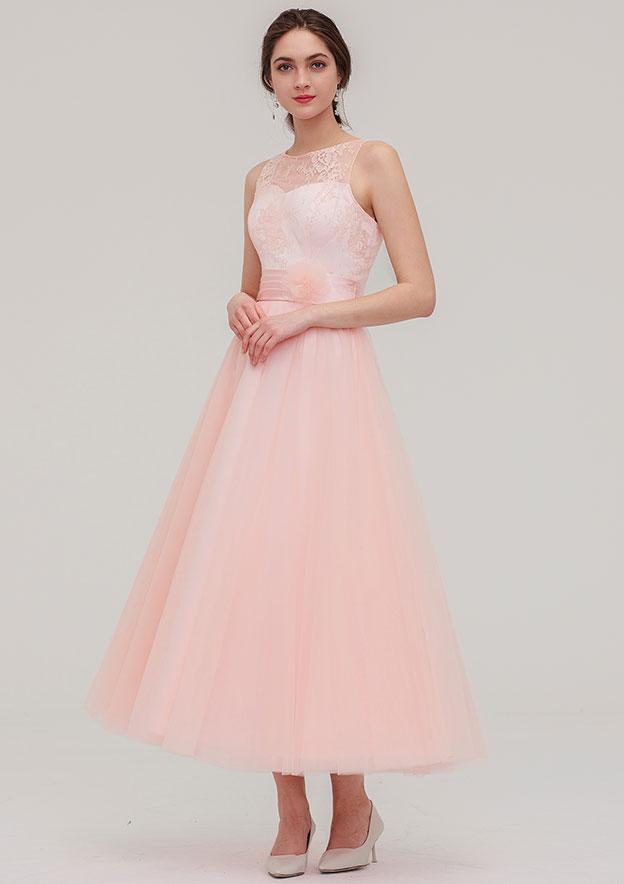 A-line/Princess Bateau Sleeveless Tea-Length Tulle Bridesmaid Dress With Waistband Lace