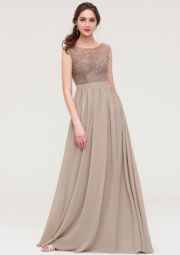 A-line/Princess Scoop Neck Sleeveless Long/Floor-Length Chiffon Bridesmaid Dress With Sequins Beading Lace Pleated