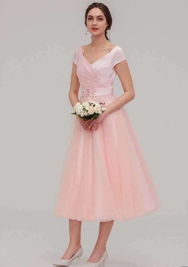 A-line/Princess Sweetheart Short Sleeve Tea-Length Tulle Bridesmaid Dress With Waistband Beading Pleated