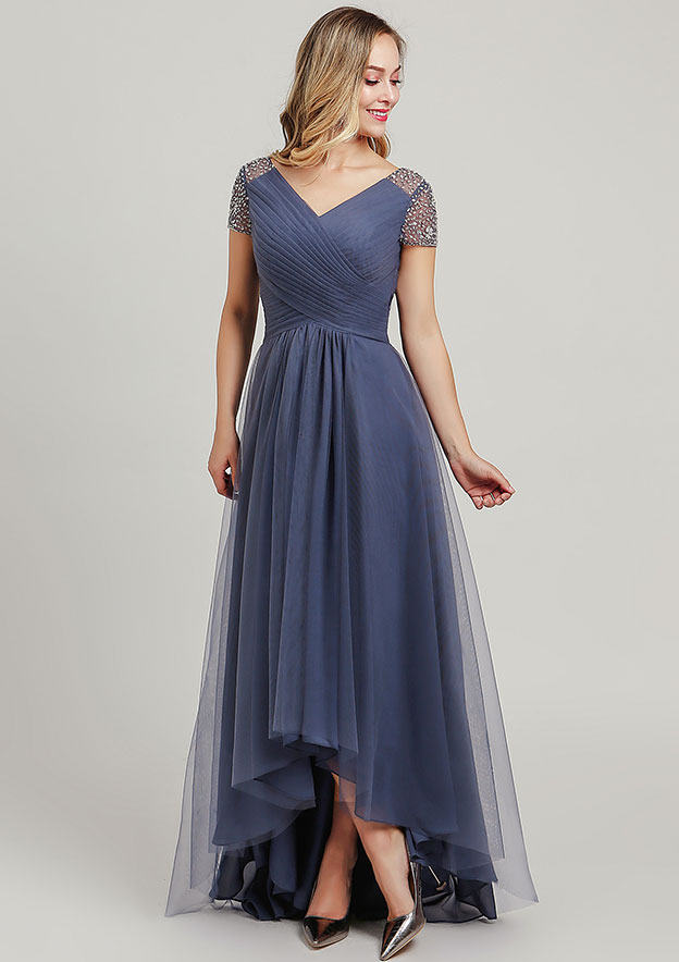 A-line/Princess V Neck Short Sleeve Asymmetrical Tulle Mother of the Bride Dress With Sequins Beading Pleated