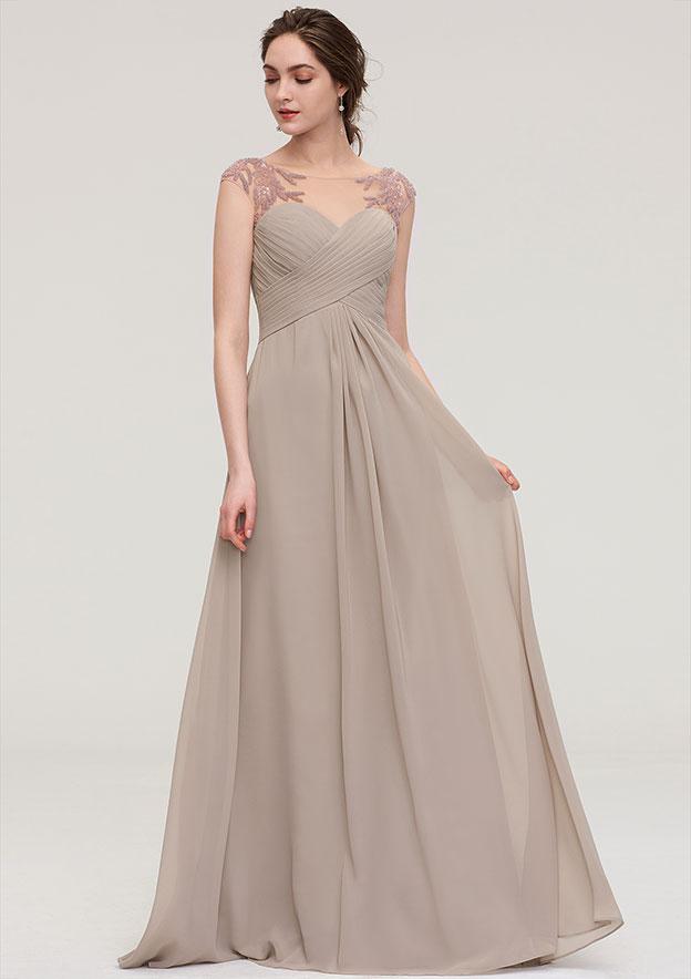 A-line/Princess Scoop Neck Sleeveless Long/Floor-Length Chiffon Bridesmaid Dress With Pleated Beading