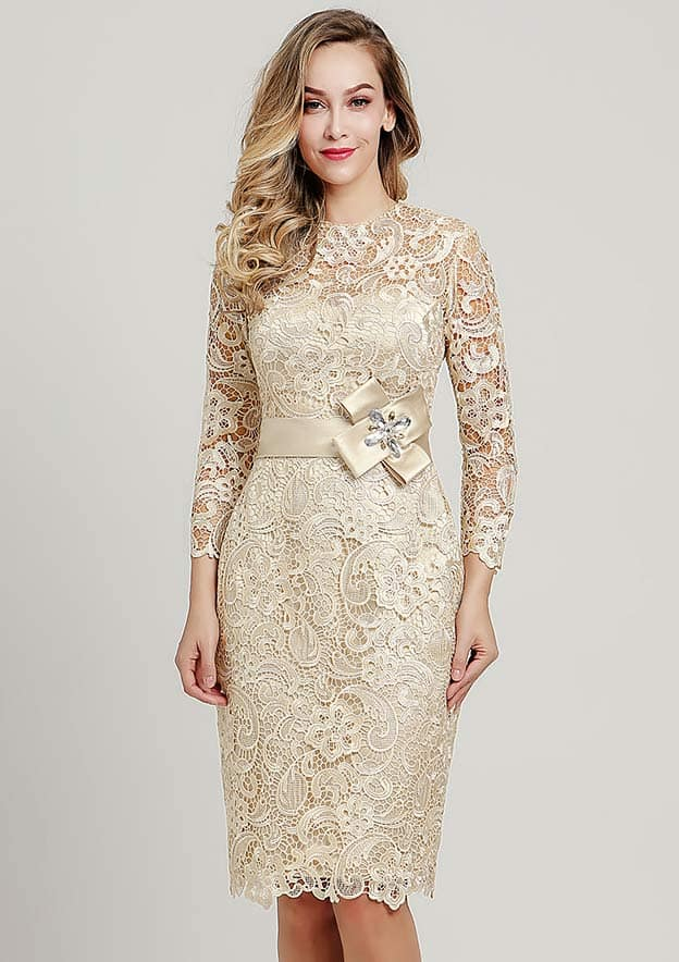 Sheath/Column Scoop Neck 3/4 Sleeve Knee-Length Lace Mother of the Bride Dress With Waistband