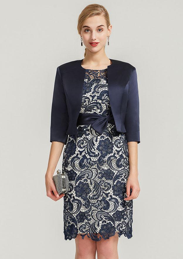Sheath/Column Bateau Short Sleeve Knee-Length Satin Mother Of The Bride Dress With Jacket Waistband Bowknot Lace