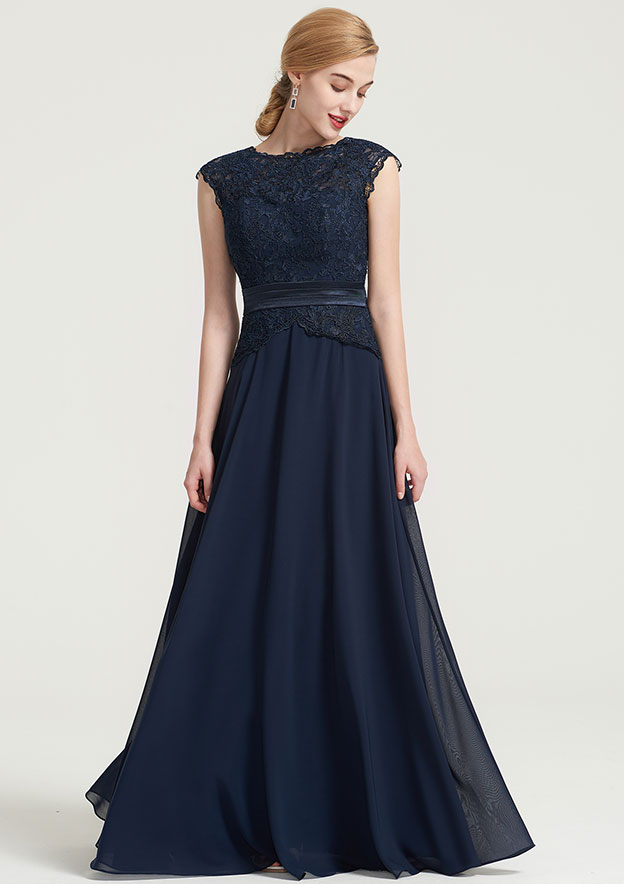 A-Line/Princess Bateau Sleeveless Long/Floor-Length Chiffon Dress With Lace Pleated