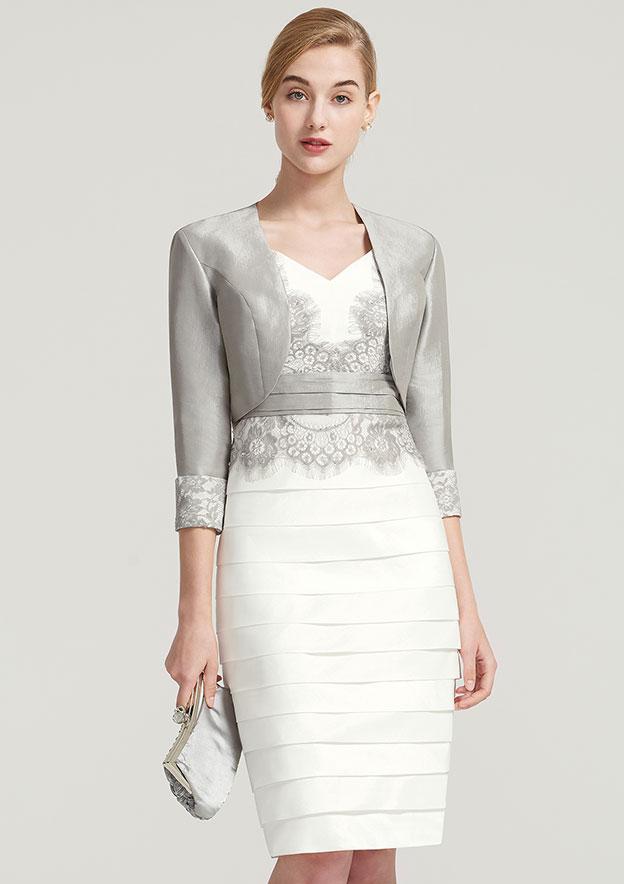 3/4 Sleeve Short Length Taffeta Jacket With Appliqued