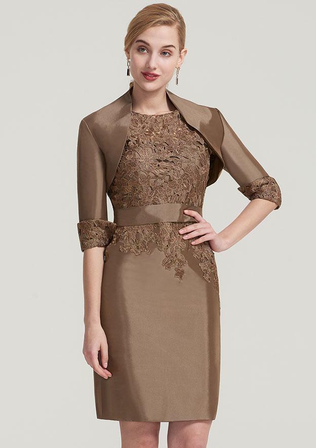 Sheath/Column Bateau Short Sleeve Knee-Length Taffeta Mother Of The Bride Dress With Jacket Waistband Appliqued