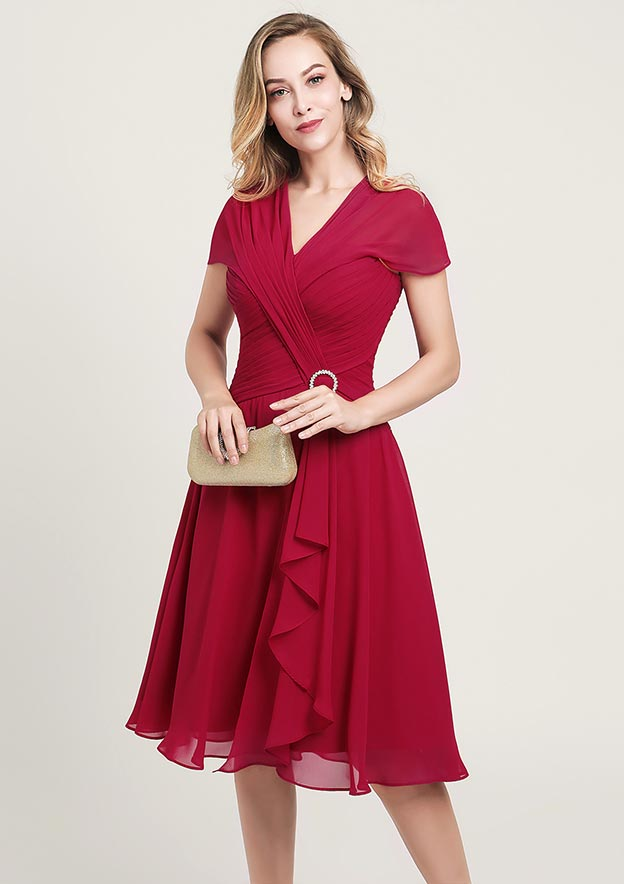 A-line/Princess V Neck Short Sleeve Knee-Length Chiffon Mother of the Bride Dress With Sequins Beading Ruffles